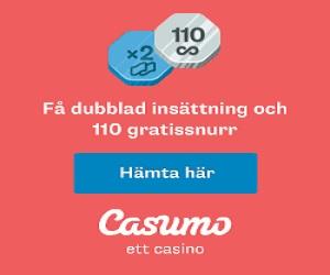 Casumo – 110 Gratissnurr + 100% deposit bonus