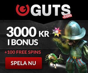 Guts ger 100 free spins + 100% bonus