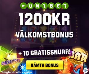 10 gratis spins och 1200kr i bonus från Unibet